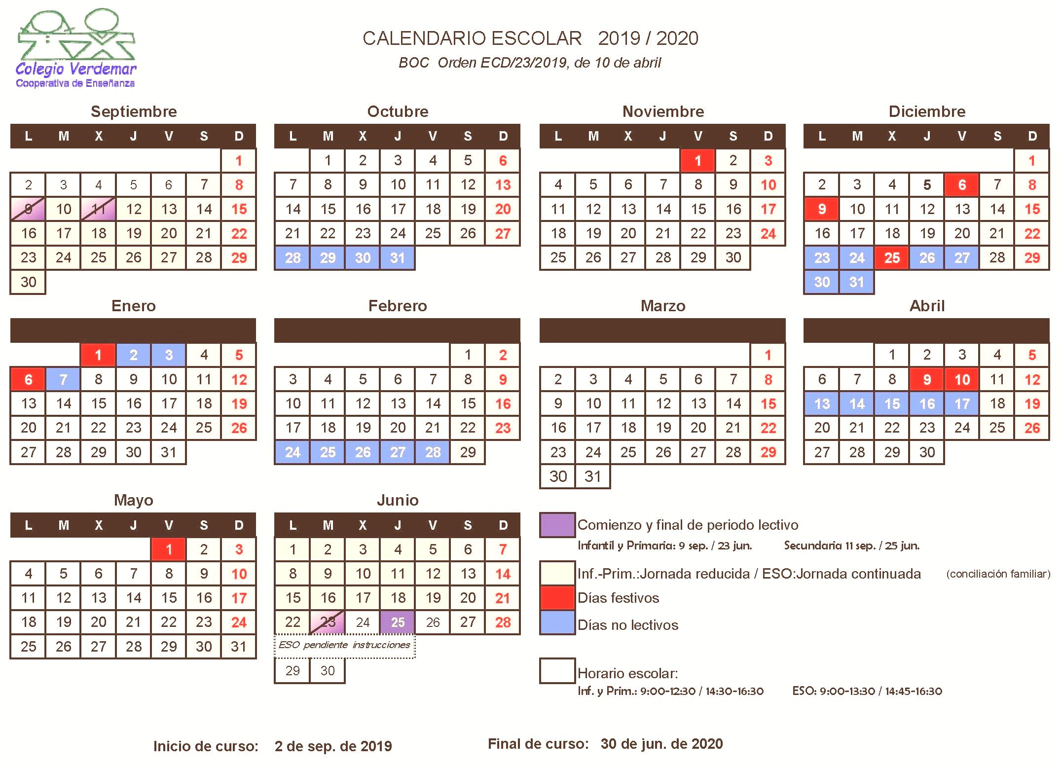 CALENDARIO ESCOLAR CURSO 19-20